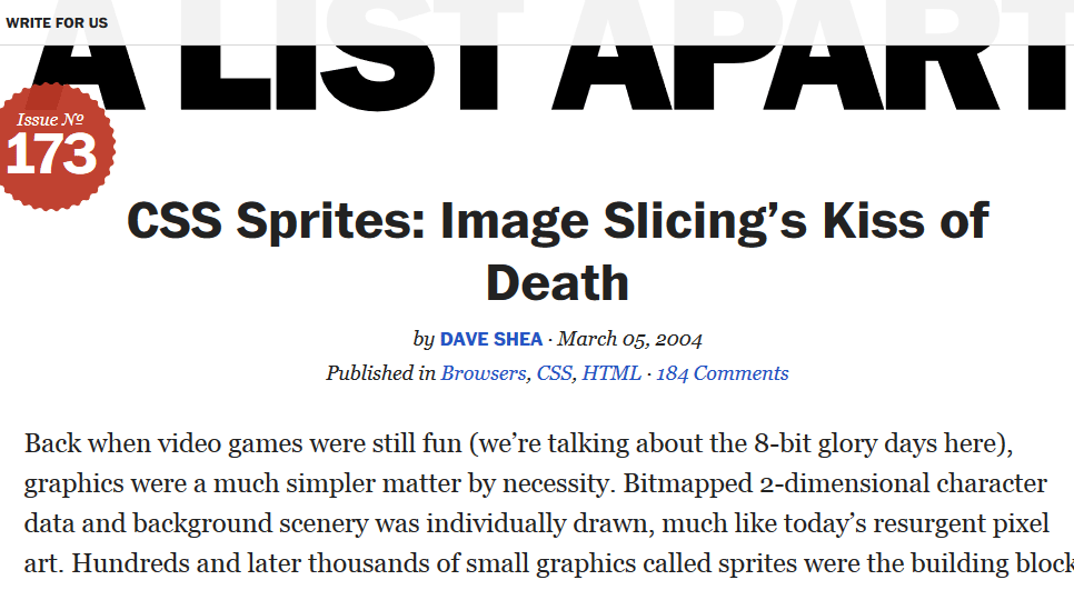 A list apart: CSS Sprites: Image Slicing's Kiss of Death