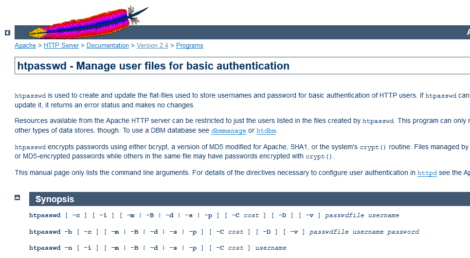 Apache tool: htpasswd - Manage user files for basic authentication
