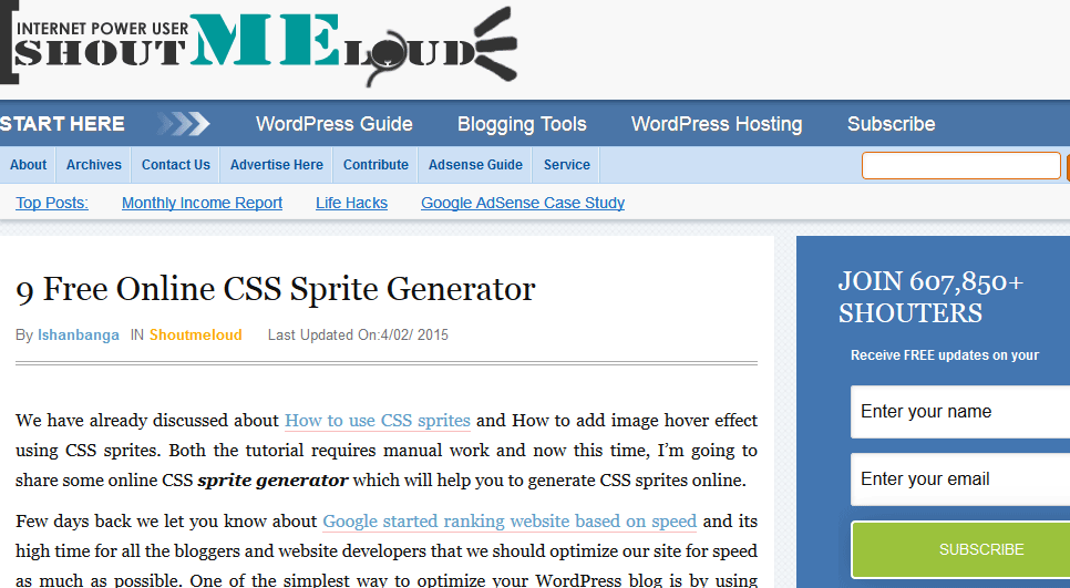 ShoutMeLoud: 9 Great Free Online CSS Sprite Generator