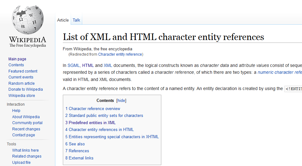 Wikipedia: Character entity reference