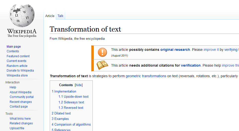 wikipedia transformation of text