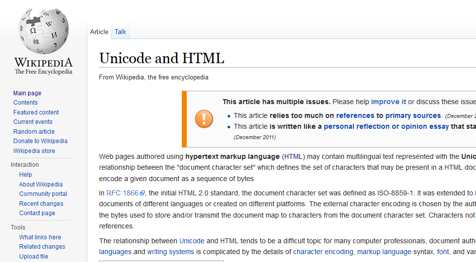 Wikipedia: Unicode and HTML